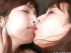 lesbian cuties facialized whilst making amateur asian brunette bukkake cumshot