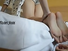 chinese student tickling equal toe juvenile infant adolescent brown hair